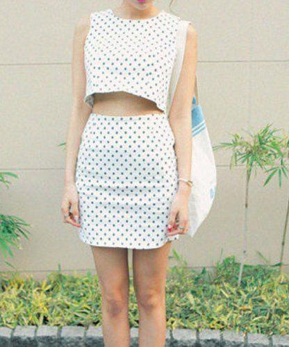 Estilo Retro Lindo de Poliéster de Mini del Lápiz con Patrón de Polca punto Faldas Para las Mujeres