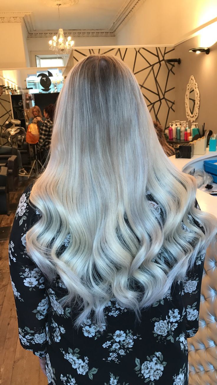 Straight perm edinburgh - Soft Blonde Balayage Hair With Ladylux Hair Extensions Waved And Curled With Cloudnine Wide Irons In Our Edinburgh Salon