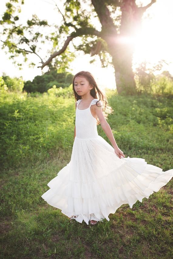 02c377ac Boho Tween Junior Bridesmaid Lace Dress Bohemian Beach White Flower Girl  Dress Ruffle Sleeves Girl Toddler Vintage Lace Maxi Dress Versaille