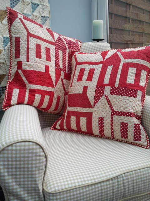 House quilt blocks made into pillows - fun way to try a block without having to commit to an entire quilt