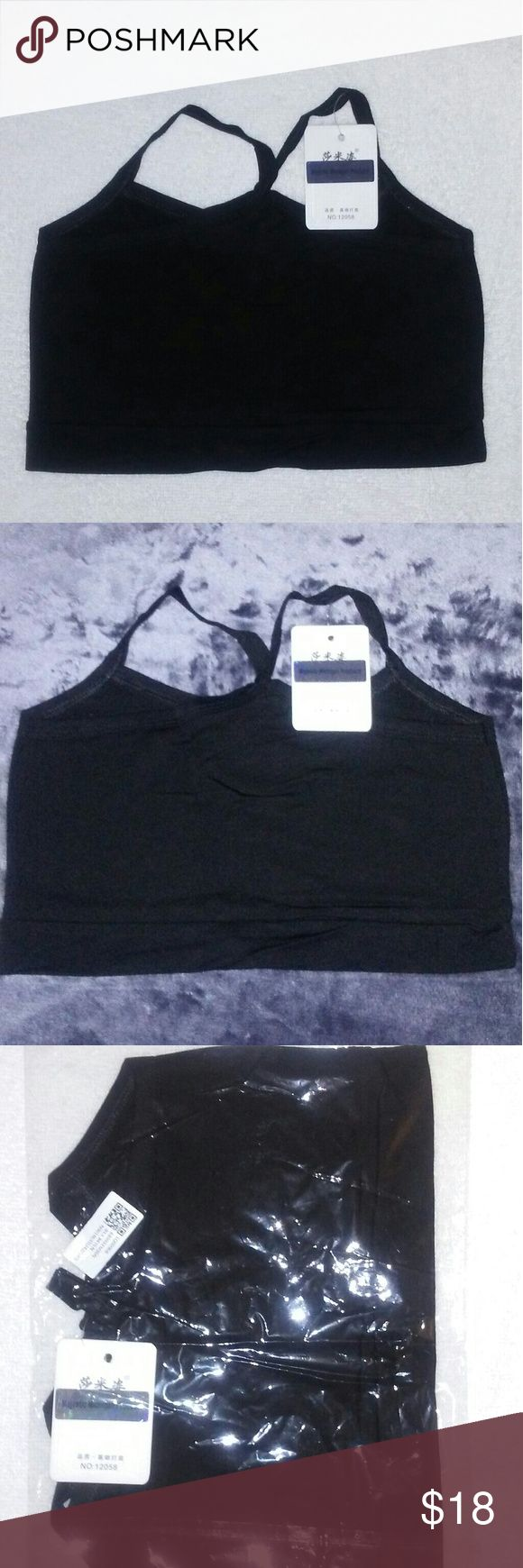 Women's Black Sports Bra crop top cami Gym Yoga You are Viewing 1 Brand New Women's Sports Bra Black petite Solid crop top cami Cotton Gym Yoga Bra Wire Free one size. Lenght 28cm/11.02 inches Bust size 64-88cm /25.2 inches 34.65 inches, CHEST PADS are NOT INCLUDED. Super elastic, breathable & Comfortable, 80  % Cotton 20 % Spandex made in China. Majestic Michigan Products Intimates & Sleepwear Bras
