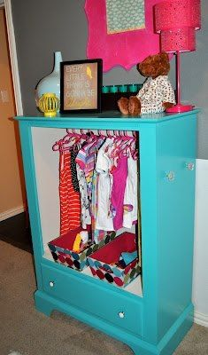 Storage Ideas for Kids - DIY Inspired Dresser turned kids wardrobe-This will be good for when Amelia can self-dress, then she can pick from this selection and dress herself!