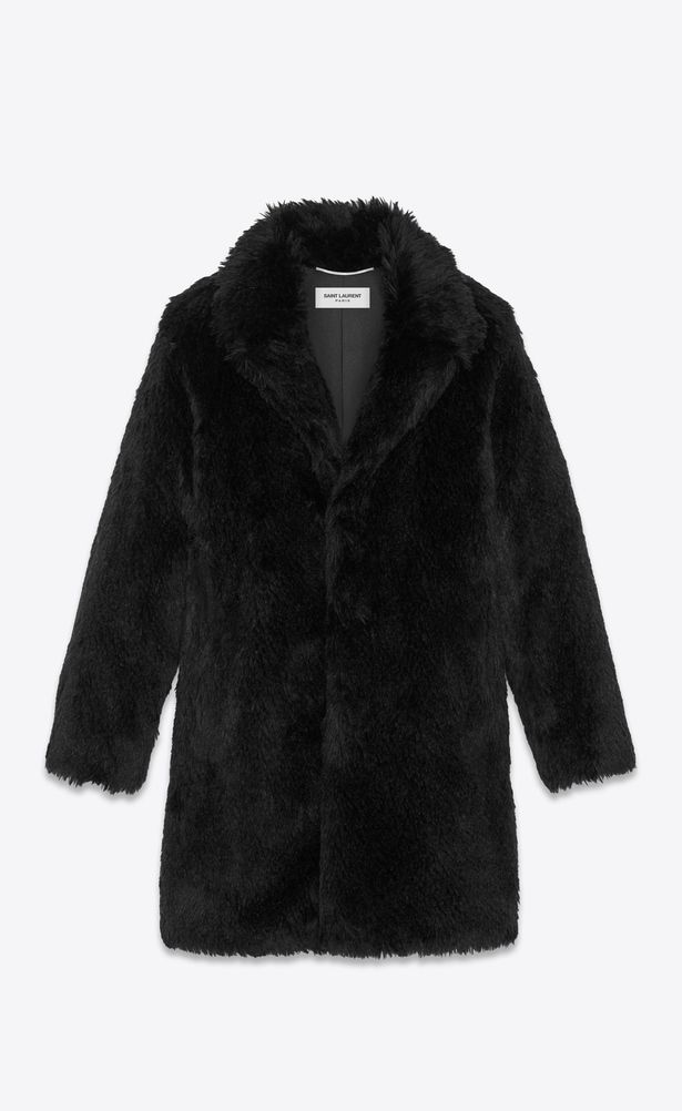 027ac305e66 SAINT LAURENT Coats Man Raglan coat in black fake fur a_V4 | YSL ...