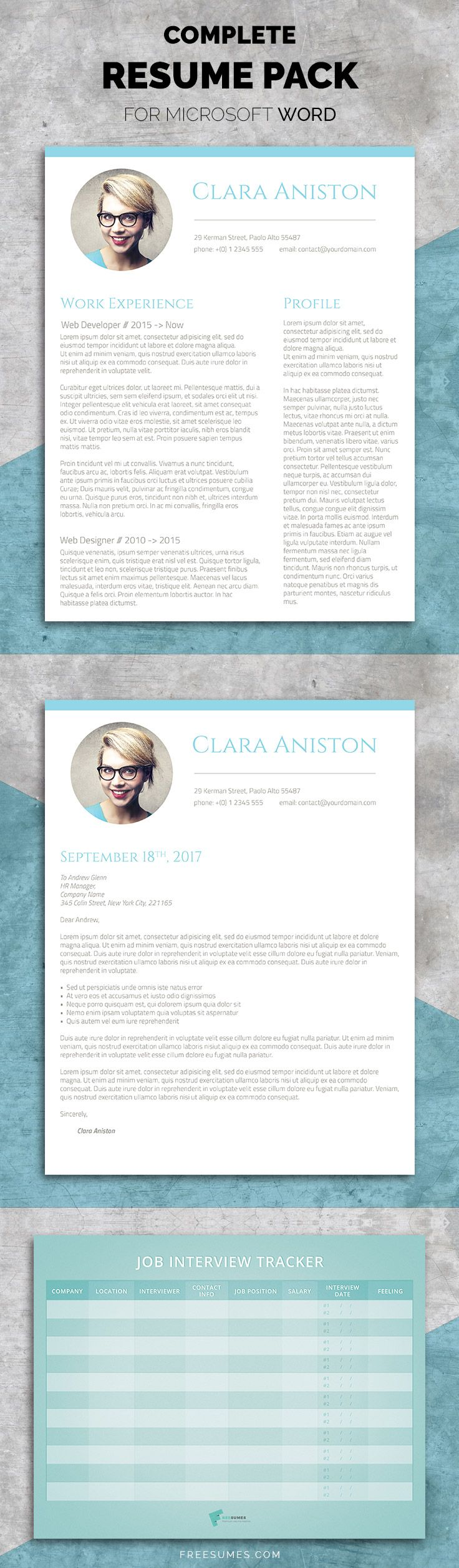 Resume Template Set - The Simple Snapshot A professionally designed resume template in Word format (US letter size) in both 1-page and 2-page resume versions. A matching cover letter in Word format to go with your resume A job interview tracker in print-ready PDF format