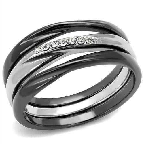 Two Tone Dark Grey Ion Plated Stainless Steel Clear Top Grade Crystal Womens Wedding Ring Set