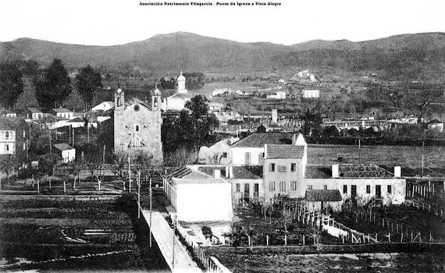 A igrexa de Santa Eulalia e o camiño a Vista Alegre.