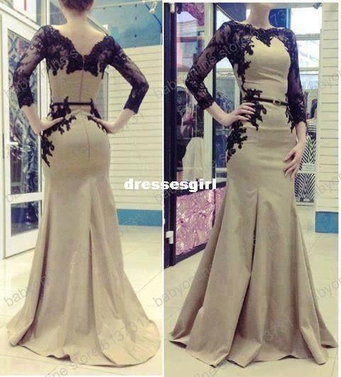 t Arabic Kaftan Long Sleeve Evening Dresses with Belt Sheer Applique Lace Satin Abaya Dubai Mermaid Prom Gowns Bo3406