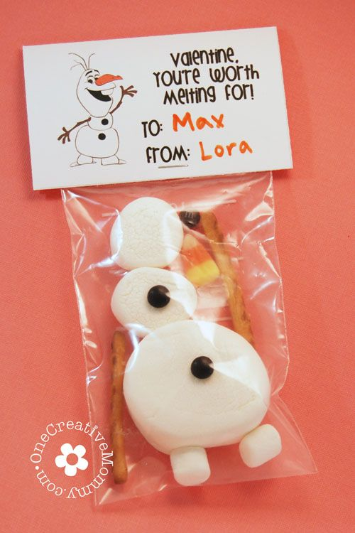 """Valentine- You're Worth Melting For"" / Frozen Olaf + free printable ...love it!"