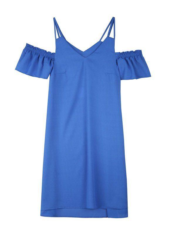 sukienka damska gładka niebieska - SSU1941 TOP SECRET