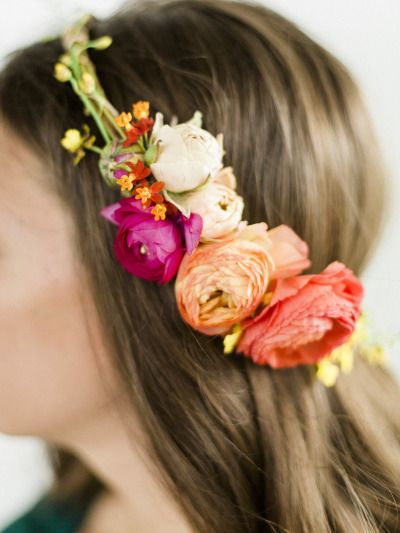 Floral halo: http://www.stylemepretty.com/living/2015/06/16/diy-summer-floral-halo/   Photography: Miranda Hattie - http://www.mirandahattiephotography.com/