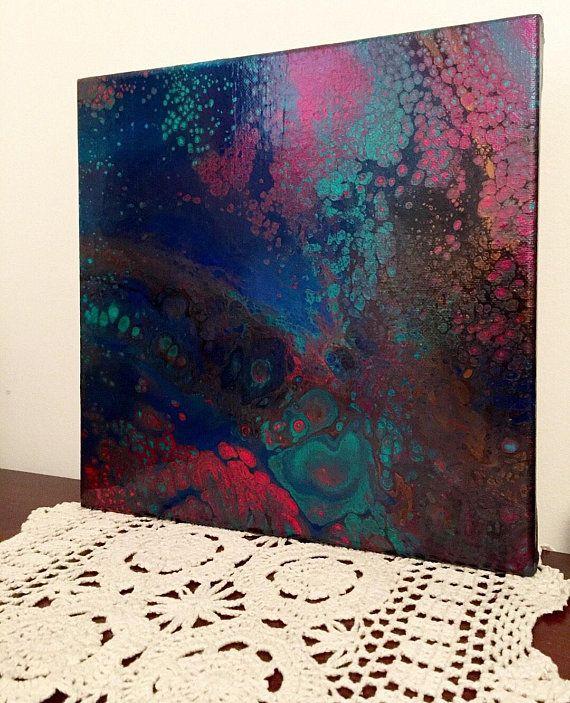 6x6in Fluid Art Set Of 2 Fluid Acrylic Paintings Canvas Art Small