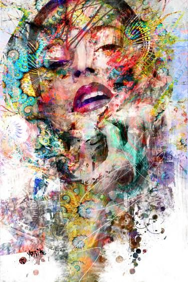 Buy fix pattern, a Acrylic on Canvas by yossi kotler from Israel. It portrays: Abstract, relevant to: portrait, yossi kotler art, acrylic painting, face, abstract,  mix media art When I am walking around outside in the nature, by investigating my path and my creativity, there is suddenly a spark that catches my eyes, that I can reflect to its shapes, texture, and to its colors. And this starts a creative process in me. Then I will search for a female figure with a unique look with some of…