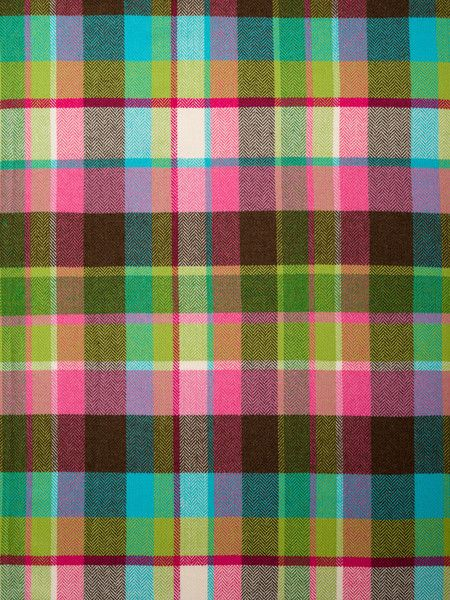 Bubblegum Pop £30.00 / per metre This 100% lambswool Herringbone weave plaid is a striking, mouthwatering melting pot of bright candy colours – bubblegum pink, vibrant turquoise, acid green, magnificent magenta, light cream and tasty chocolate are all found here. These colours sing bubblegum pop!  Soft and cosy, with an excellent drape, this happy fabric will make you smile every time you see it. Imagine the choices you've got: one key garment made with this will brighten up any outfit.