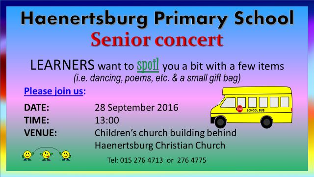 Support our #children as they do their part for our #community the way they know best.  #HaenertsburgPrimarySchool 👏 👏 👏 👏  http://haenertsburgchristianchurch.co.za/event/senior-concert/