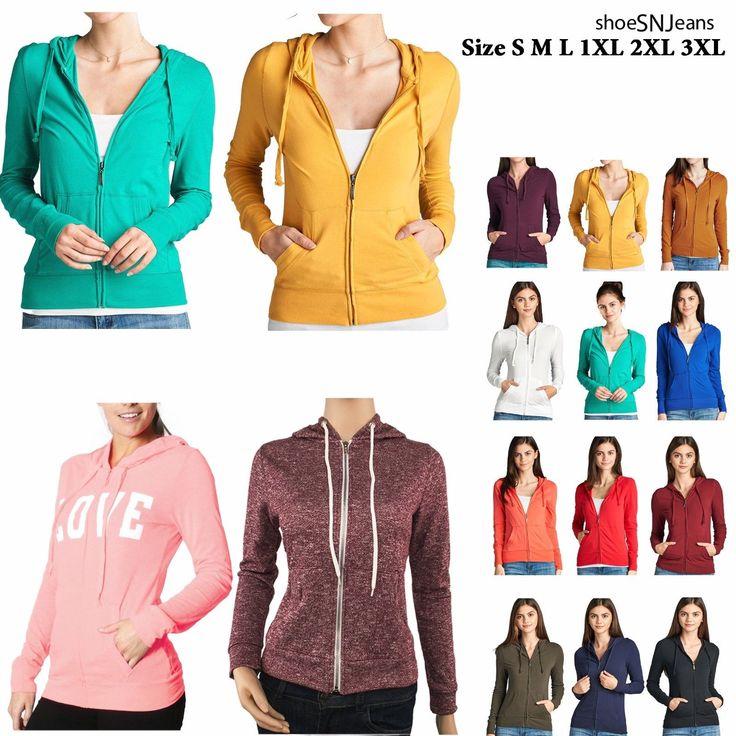 Cotton Zip Up Hoodie Plain Sweatshirt Long Sleeve Jacket S M L 1Xl 2Xl 3Xl