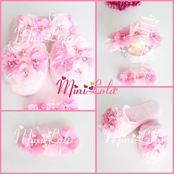 Pembe gülkurusu çiçekli incili taşlı lohusa seti