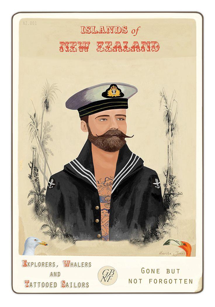 Islands of New Zealand, Explorers, Whalers and Tattooed Sailors - Gone but not forgotten! By Marika Jones.  www.imagevault.co.nz