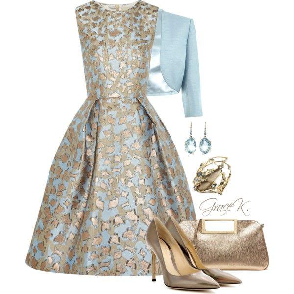 """Metallic Jacquard Dress"" by gracekathryn on Polyvore"