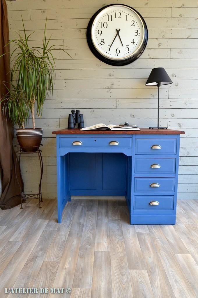 Restaurer et relooker un vieux bureau de comptable facilement d co bureau bois mobilier de - Repeindre un bureau ...