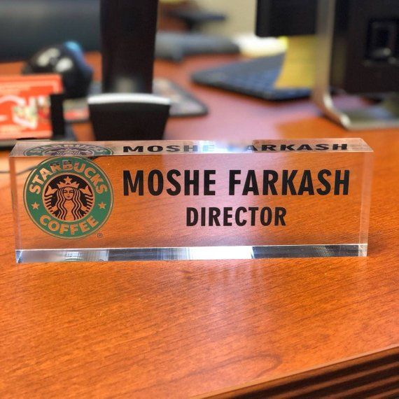 Personalized Desk Name Plate Name Position Logo On Premium Clear Acrylic Glass Bloc Personalized Desk Name Plate Personalized Name Plates Desk Name Plates