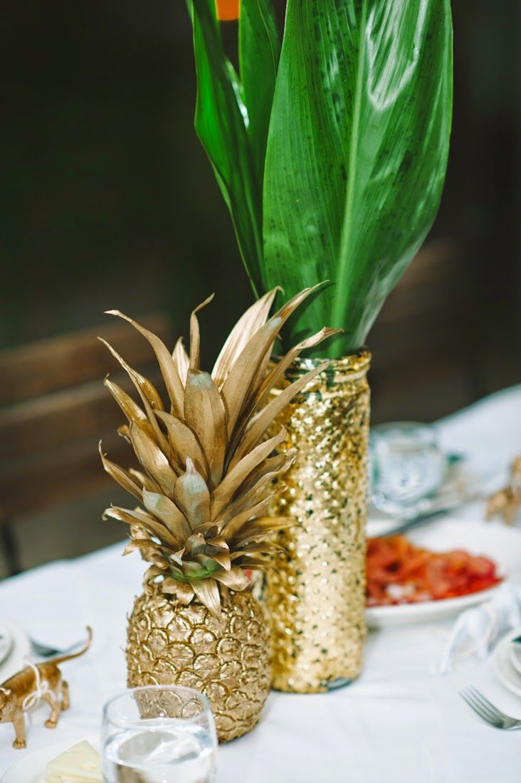 A few details from our Brooklyn Wedding | Fitzroy Boutique - gold pineapples and banana leaf