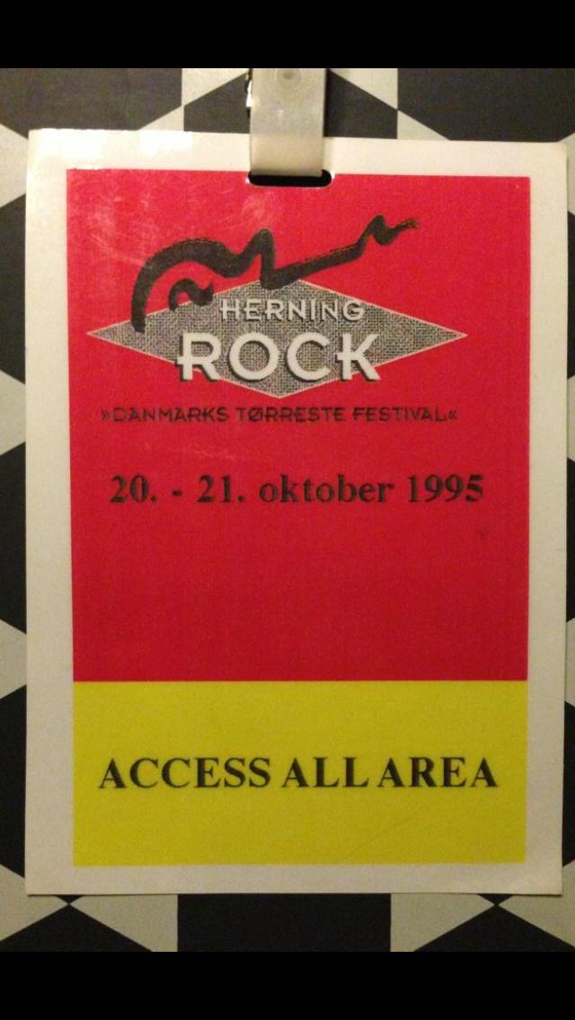 Back stage pass Herning Rock 1995. Indendørs festival i Kongrescentret.