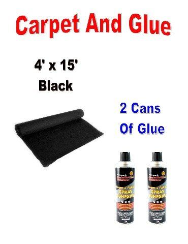 15ft x 4ft + 2 Cans Spray Glue BLACK DJ CAR SUB SPEAKER BOX CARPET TRUNK LINER  Professional and Industrial Use Wide Web Spray Pattern Temporary or Permanent Bonds  This wide web spray pattern aerosol adhesive is effective for both temporary or permanent bonding and is suitable for your toughest adhesive applications with materials such as leather,  Black Carpet 15ft x 4ft