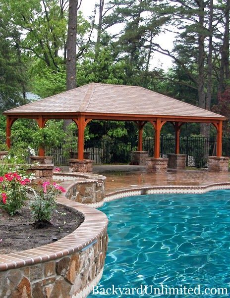 16'x28' Traditional Wood Pavilion with Cedar Stain--Amish made and available in California http://www.backyardunlimited.com/pavilions