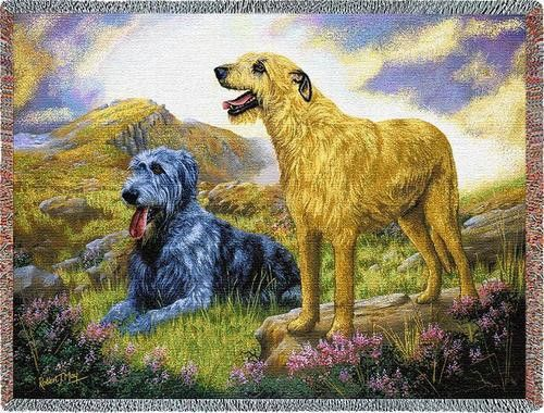 """Artwork by world renowned animal artist, Robert May. 54"""" width x 70"""" length Jacquard woven cotton art tapestry. Not a print. Fringed. Made in the USA. If not in stock, please allow 2-4 weeks for produ"""