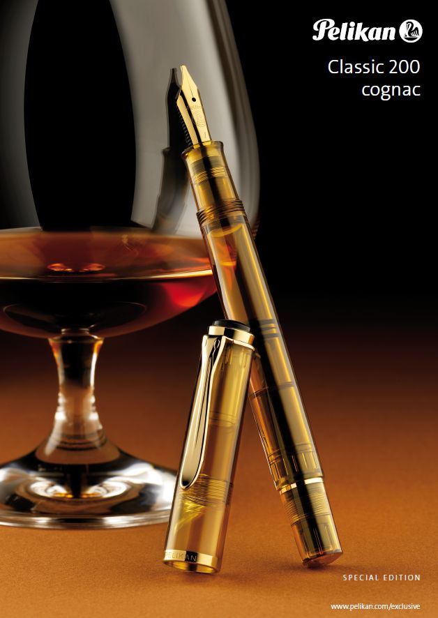 Pelikan M200 Cognac fountain pen.The pen is made from a translucent, dark amber colored resin and features gold plated hardware that accents the pen. $160-$172 (steel nib). $352 with M400 two-tone nib at http://www.nibs.com/pelikan-tradition-m200-cognac.htm