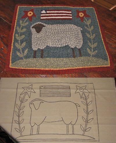 Primitive Hooking Patterns 157031: Primitive Hooked Rug Pattern On Linen Prim Sheep -> BUY IT NOW ONLY: $38 on eBay!
