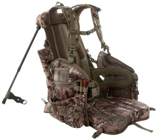 Tenzing TZ TP14 Turkey Backpack Hunting Vest with Seat. Structured internal aluminum frame. Spring loaded, adjustable aluminum legs. Fold down padded seat with magnetic fasteners. Padded backrest. Dual waist band strap for contoured fit.