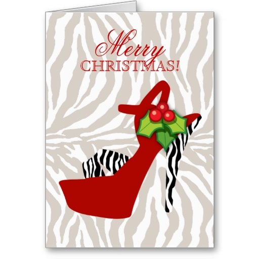 Rouge de zèbre de chaussure de talon haut de Noël Cartes De Vœux