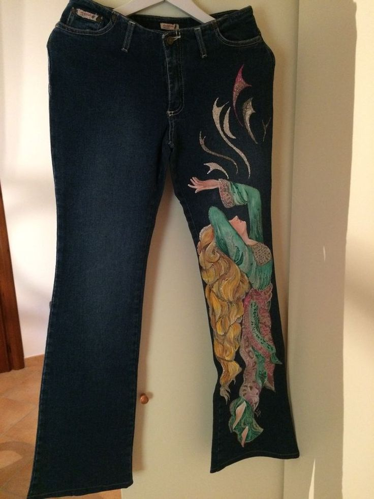 Jeans+donna+dipinti+a+mano