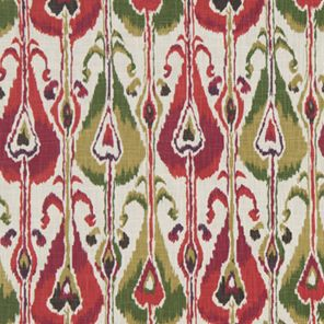Arts And Crafts Pink And Multicoloured Cotton Print Curtain and Upholstery Ikat…