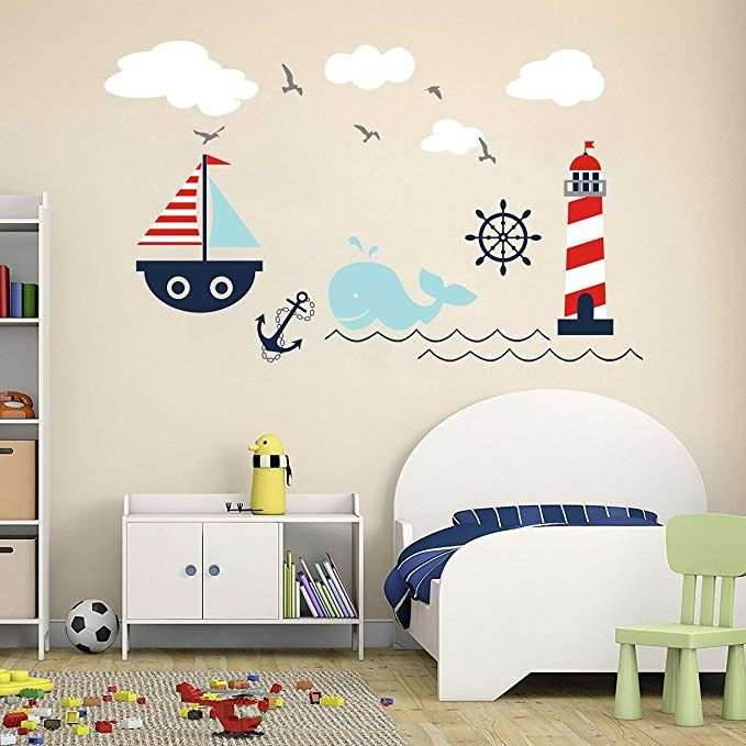 higoss nautical baby nursery wall decal lighthouse whale and