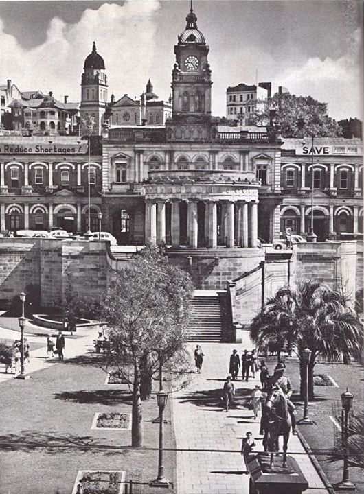 Anzac Square,the War Memorial and Central Railway Station in Brisbane 1950.A♥W