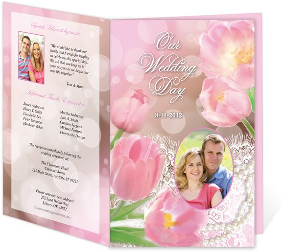 Letter Single Fold : Dream Wedding Program Templates. Edits easily and quickly in Word, OpenOffice, Publisher, and Apple iWork Pages.