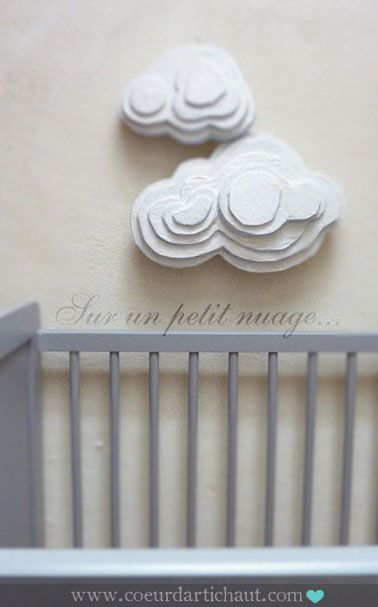Paper Clouds Wall Decor : Cardboard paper mache wall sculptures i can see a