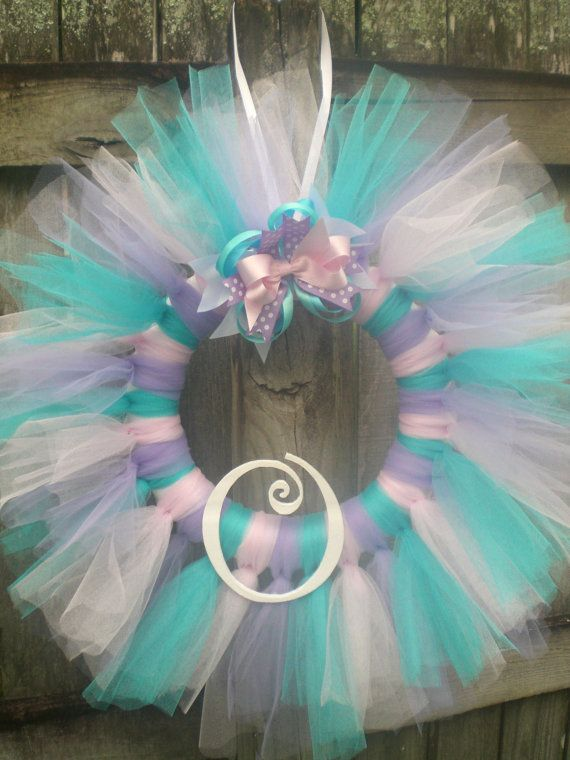 Pink, Lavender, and Aqua Cotton Candy Tulle Tutu Ballerina Princess Wreath with…