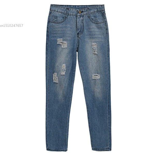 13.78$  Watch now - http://aliqyg.shopchina.info/1/go.php?t=32750264881 - New Fashion Women Ladies Medium Waist Denim Jeans Hole Light Wash Full Length Slim Leg Casual Pants  #aliexpresschina