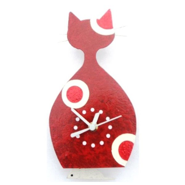 Oxidos Cat Wall Clock - Red