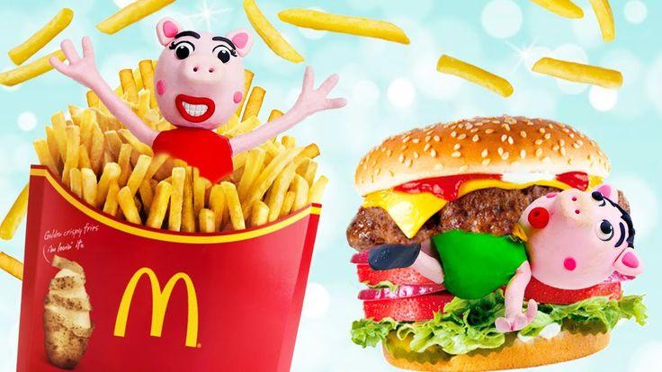 Peppa Pig Episodes GIANT McDonald's Burger | Peppa Pig en Español Videos...