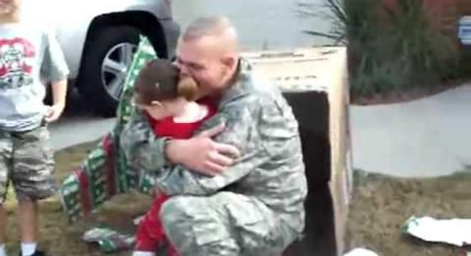 Soldier Hiding In A Box Surprises Daughter On Christmas