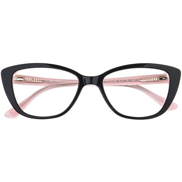 Nicole Cat Eye Black/Pink Eyeglasses ($10) ❤ liked on Polyvore featuring accessories, eyewear, eyeglasses, cateye eyeglasses, pink glasses, cat-eye glasses, cat eye glasses and pink eye glasses