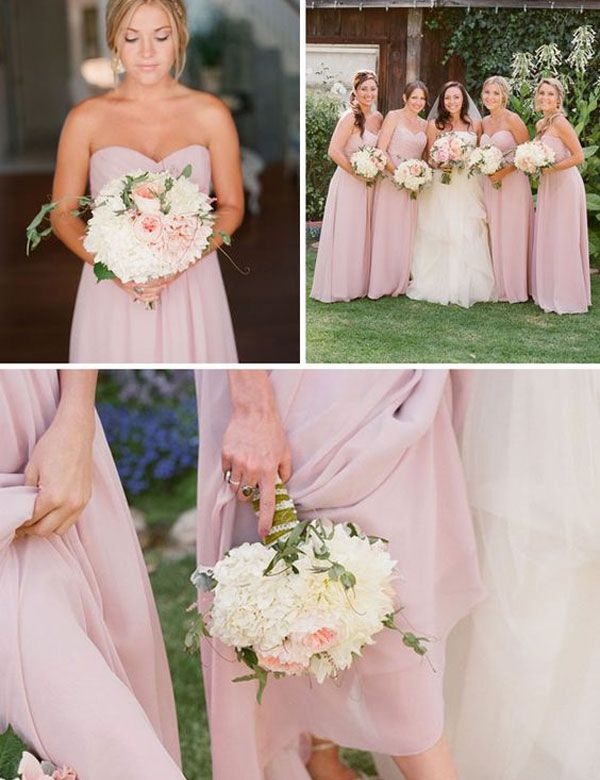 Simple Sweetheart A Line Chiffon Long Pink Bridesmaid Dress Under 100cheap