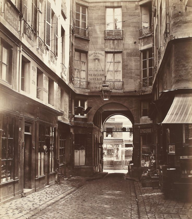 Charles Marville, (French, 1813–1879). Passage Saint-Guillaume toward the rue Richilieu (First Arrondissement), 1863-1865. Joy of Giving Something, Inc. #paris