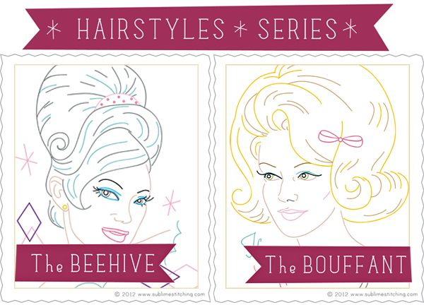The Beehive and The Bouffant - Embroidery Patterns by Jenny Hart: Embroidery Ideas, Bouffant, Embroidery Patterns, Jenny Hart, Beehive, Classroom Inspiration, Embroidery Ii, Embroidery Etc, Embroidery Things