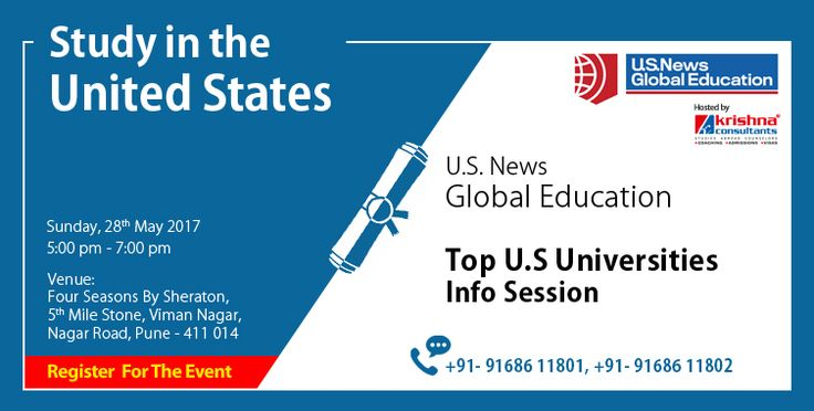 Top #Universities Information Session - 120 Minutes That Can Change Your Destiny!  Students studying in 10th, 11th and 12th who want to study in the high ranked universities of the U.S can attend the Top U.S Universities Information Session being conducted at the corporate office of Krishna Consultants in Pune.  Event Date-   28-May-2017  Time- 5:00 PM-7:00 PM  Venue - Four Points by Sheraton, 5th Mile Stone, Near Phoenix Market City, Nagar Road, #Pune  Registration Link…