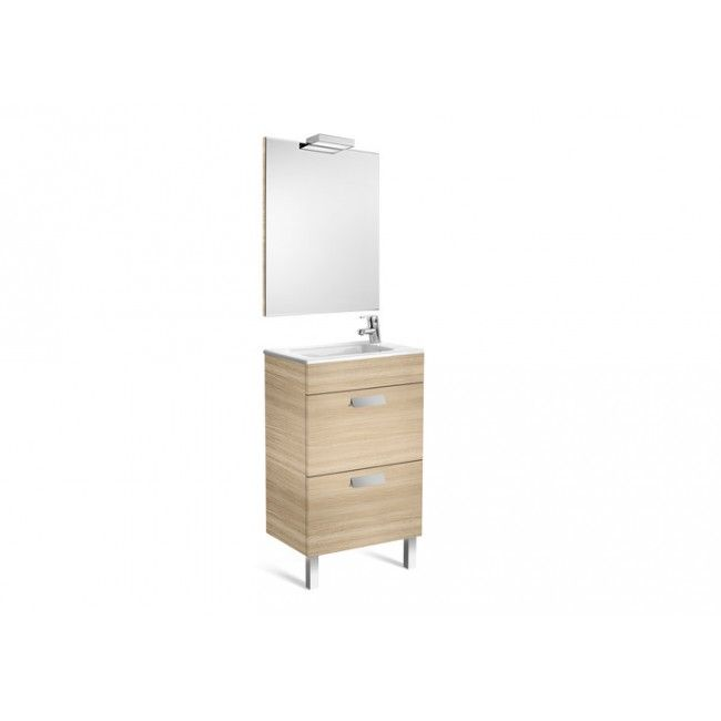 Roca Bathroom cabinet Debba two drawers, double sink, mirror and apply textured oak 50x36 LED